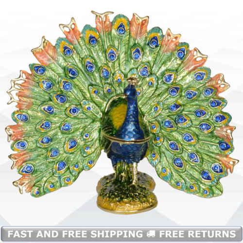 Peacock Bird Trinket Box With Hinged Lid Enamel Bejeweled Crystal Decor Keepsake