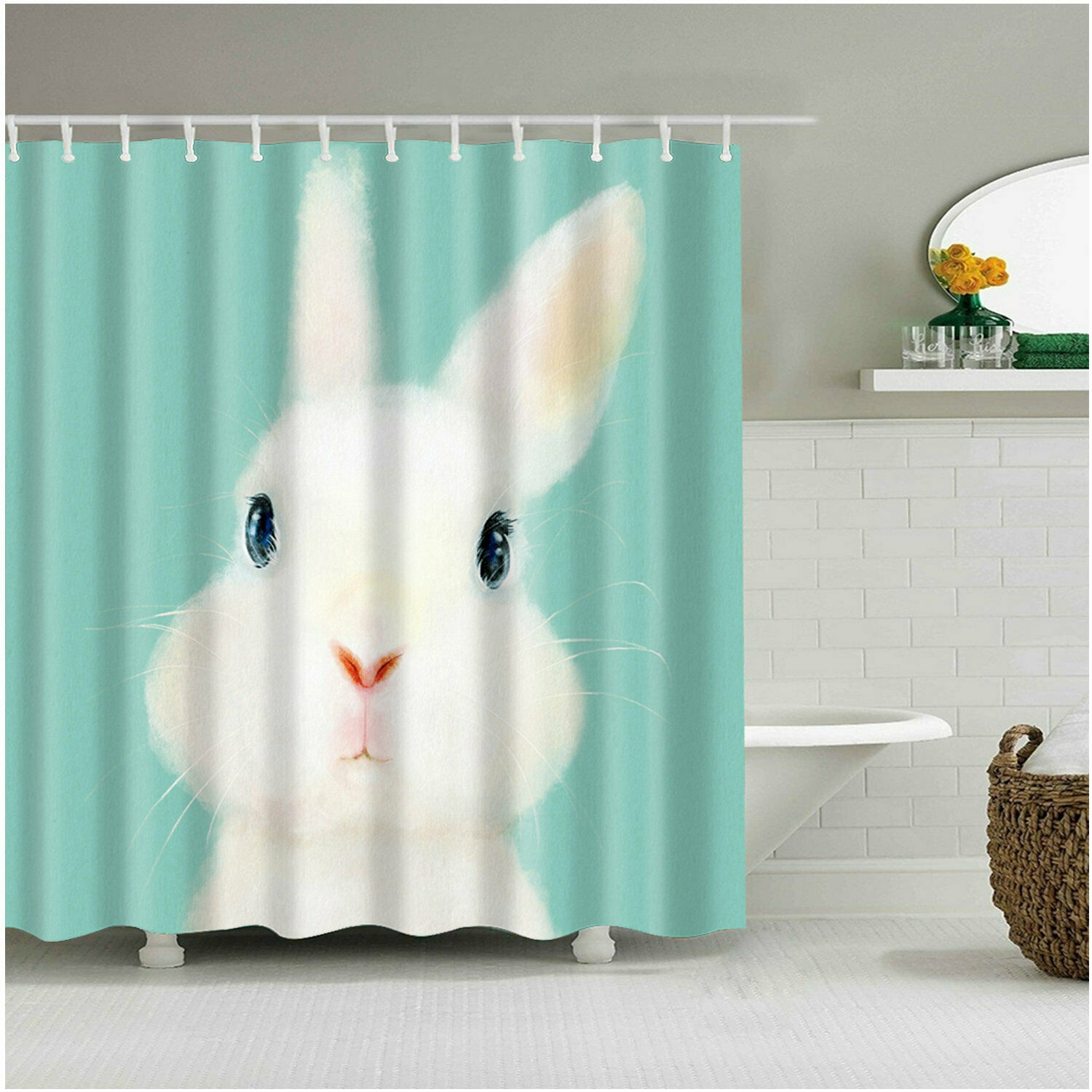 Details About Shower Curtain Art Bathroom Decor White Rabbits Waterproof Curtains 12 Hooks