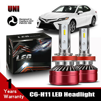 Fit 2007-2019 TOYOTA Camry H11 LED Headlight Bulb 40W 3200LM 6000K White DOT