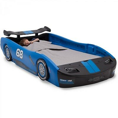 - Race Car Twin Bed Children Turbo Blue Kids Boys Girls Bedroom Furniture Toddler