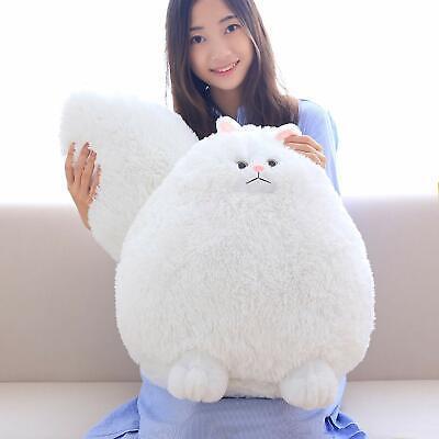 Fluffy Stuffed Animals (Winsterch Fluffy Giant Cat Stuffed Animal Toy White Plush Cat Toy Gift 20)