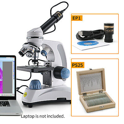 Swift 40x-1000x Kids Homeschool Microscope With1.3mp Usb Camera25pcs Slides