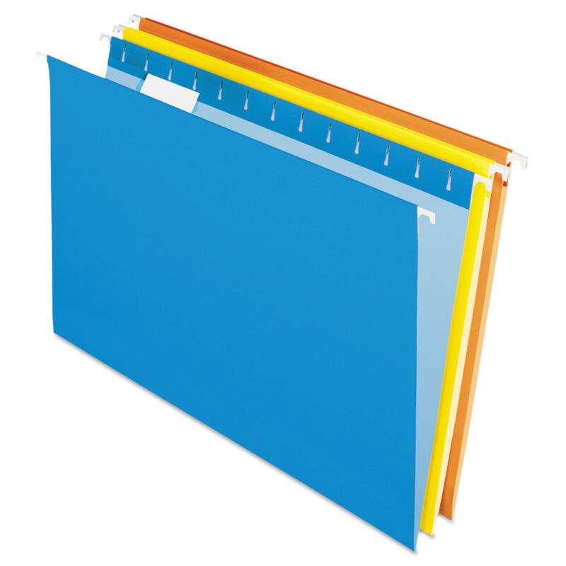 Pendaflex Essentials Colored Hanging Folders 1/5 Tab Legal Assorted Colors 25