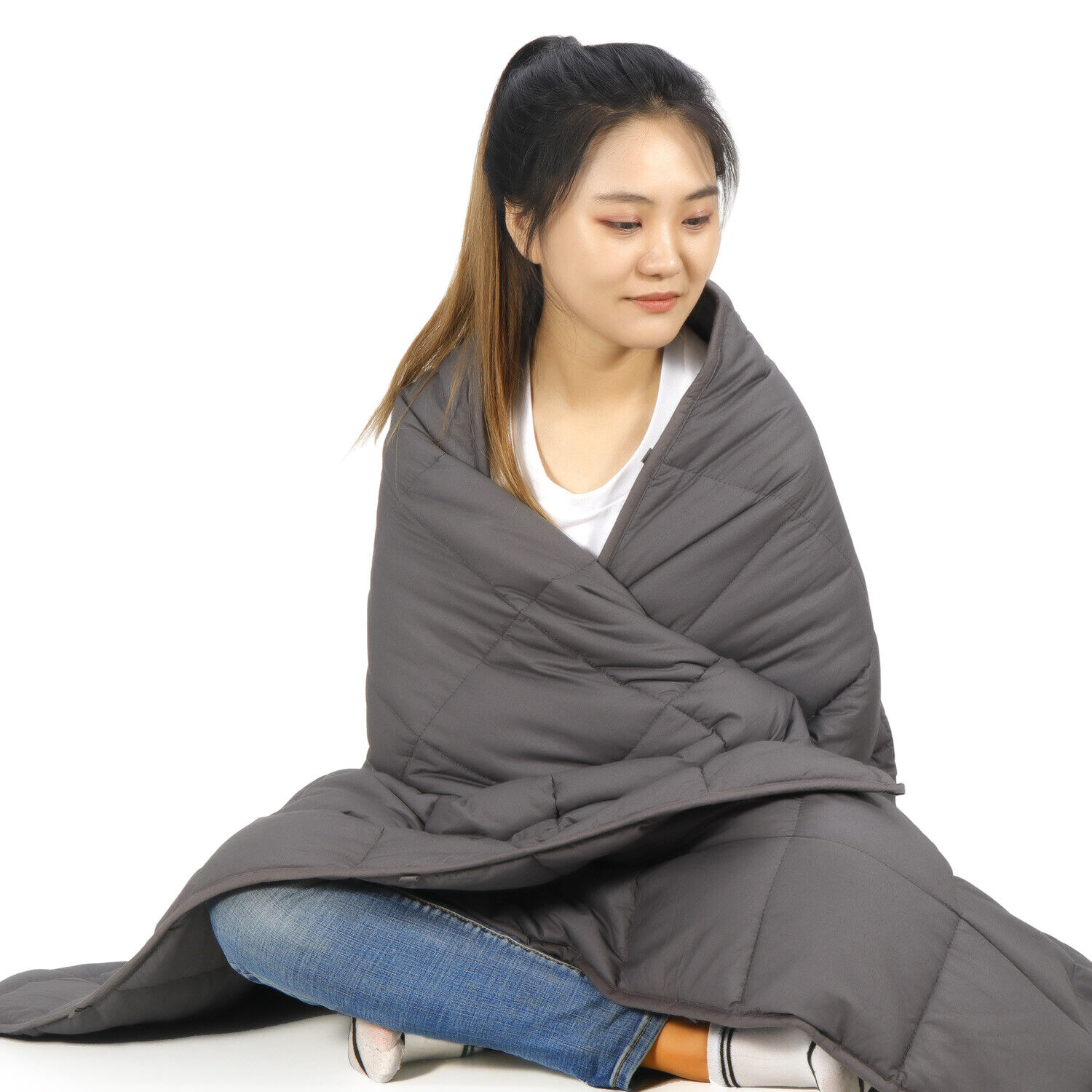 20lbs Grey Weighted Blanket Fit To Queen/Full Size Bed Sewing Technology 60×80″ Bedding