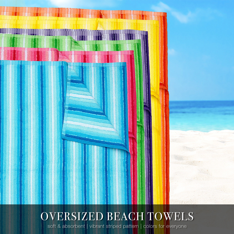 100% Cotton Stripe Beach Towel Pool Oversized 40″ x 70″, 1 or 2 Pack Bath