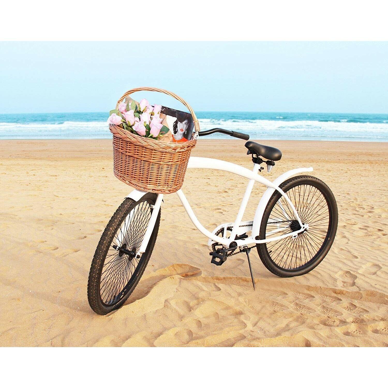 Bicycle Basket For Girls Women Hand-Woven Natural Wicker Bik
