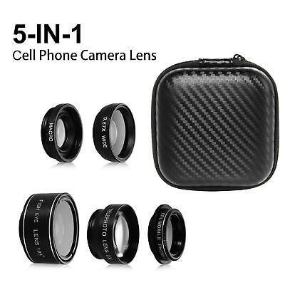 Camera Lens Kit 5 in 1 Zoom Telephoto Lens + Fisheye lens + 15X Macro Wide Angle