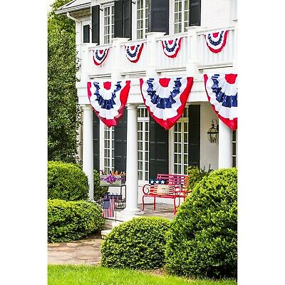 American Flag Bunting Patriotic 2 Sided US 4th of July Party Banner Decor 8 x 4 - 4th Of July Bunting Decorations
