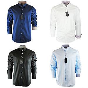 Men-039-s-Hugo-Boss-Plain-Black-Navy-Sky-White-Shirt-Long-Sleeve-Size-S-M-L-XL-XXL