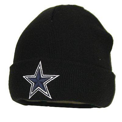 Black Basic Knit Beanie - Dallas Cowboys Basic Knit Black Raised Cuffed Winter Field Beanie Sideline Hat