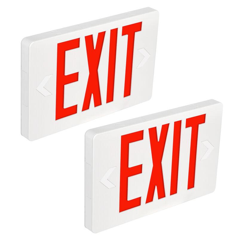 Hykolity 2 Pack Red LED Exit Sign Emergency Light - Battery Backup UL 924 Fire