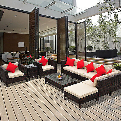 9pc Outdoor Rattan Wicker Sofa Chair Couch Seat Sectional Patio Furniture Set