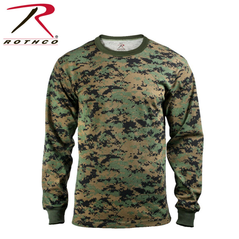 c2748ebd18227 Rothco Military Tactical Hunting Long Sleeve Camo T-Shirts | Color Woodland  Digital