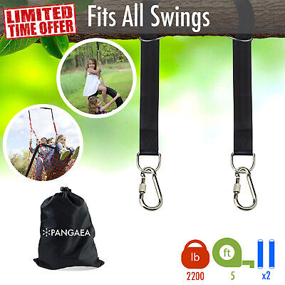 Tree Swing Nylon Hanging Hammock Straps (Set of 2) Kit 5 FT 2200LB Carabiner