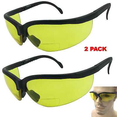 2 Pair Lot Bifocal Reading Safety Sunglasses Glasses Yellow Driving Night Vision