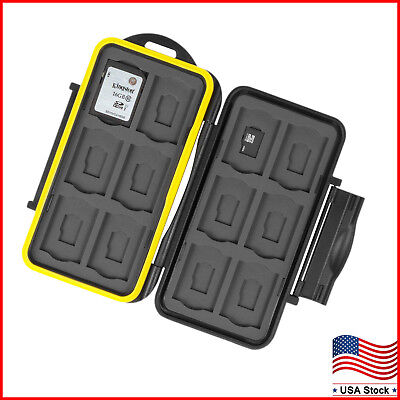 Memory Card Case Holder Storage Fits 12 SD+12 Micro SD TF Cards Water Resistant (Card Memory Card Case)