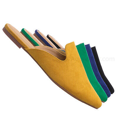 Design Pointed Toe Flat Mule - Women Dressy Slip On Backless Loafer Slipper - Shoes Flats Dressy