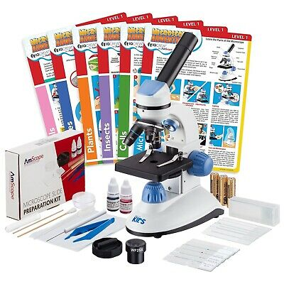 Iqcrew 40x-1000x Dual Illumination Microscope Slide Prep Kit Experiment Cards