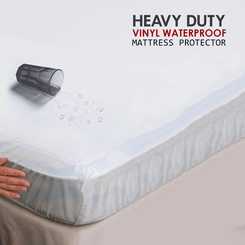 ANTI ALLERGIC HEAVY DUTY 100/% WATERPROOF BED TOP MATTRESS PROTECTOR COVER VINYL