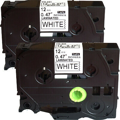 Neouza 3PK compatibile per Brother P-Touch Laminated TZe TZ Label tape Cartridge 12/mm x 8/m Black on Fluo Orange White on Black Gold on Clear