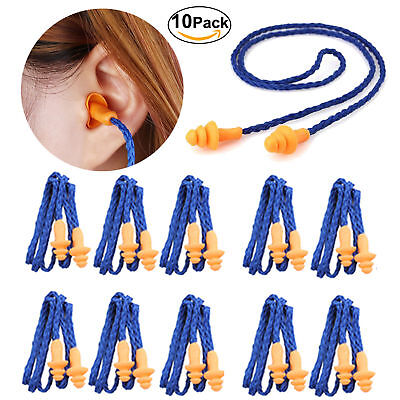 10pcs Silicone Corded Ear Plugs Reusable Hearing Protection Earplugs Anti-noise