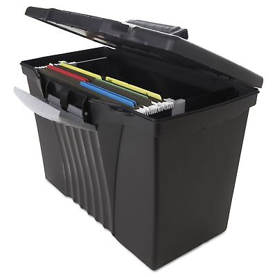 Storex - Portable File Storage Box With Organizer Lid Letterlegal - Black