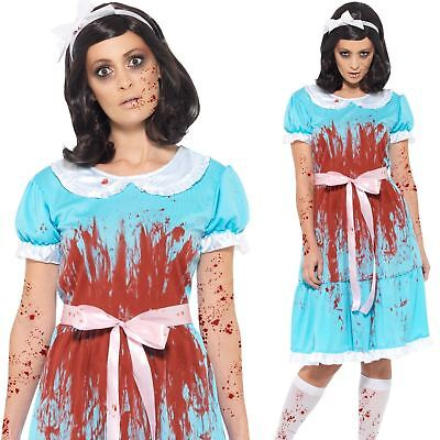 Matching Sister Halloween Costumes (Ladies The Shining Costume Evil Twin Sister Fancy Dress Zombie Halloween)