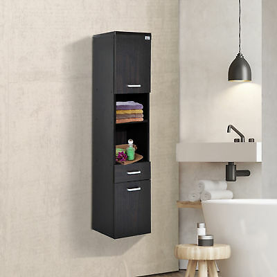 "53"" Tall Modern Wall Mounted Bathroom Cabinet Storage Organizer w/ Shelf Drawer"