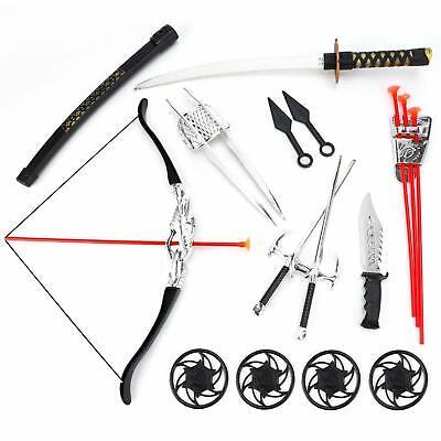 Ninja Warrior Weapons Set Bow & Arrow Archery, Katana Sword, Toy Weapons for Kid
