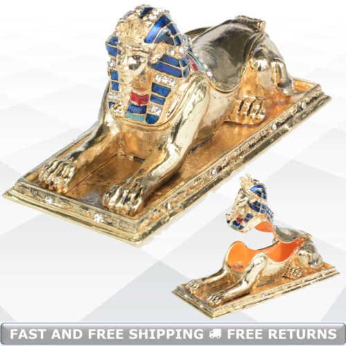 Egypt Sphinx Vintage Metal Enamel Jewelry Trinket Box Hinged Lid Jeweled Crystal