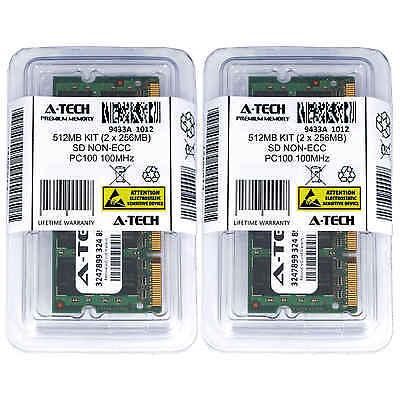 512MB KIT 2 x 256MB SODIMM SD NON-ECC PC100 100MHz 100 MHz SDRam 512M Ram (512 Mb Sdram Kit)