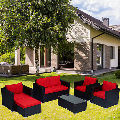 5PCS Outdoor Patio Rattan Wicker Furniture Set Sectional Sofa Couch Cushioned