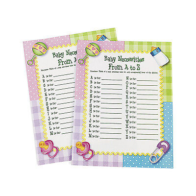 24 From A To Z Necessities Baby Shower ??? Game PARTY DECOR BOY GIRL PINK BLUE - Baby Necessities From A To Z