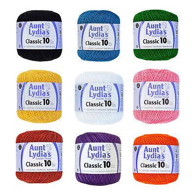 Aunt Lydia's Crochet Cotton Thread Size 10 Over 48 Colors Available  (10 Cotton Crochet Thread)