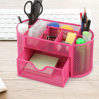 Pink Desk Organizer Mesh Metal Desktop Office Pen Pencil Holder Storage Tray