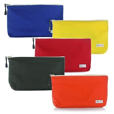 Heavy Duty Canvas Tool Pouches :: Set of 5 Large, Zippered Tool Storage Bags,...