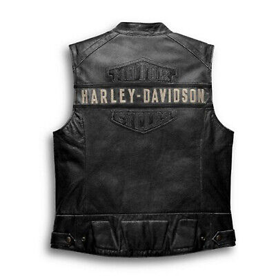 Harley Davidson Vest Biker Cafe Racer Motorcycle Genuine Leather Vest Jacket