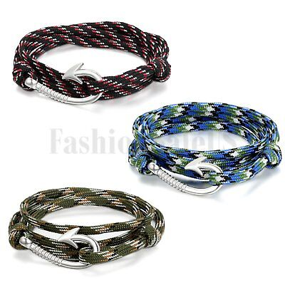 New Multilayer Braided Handcrafted Nautical Fish Hook Adjustable Bracelet Cuff