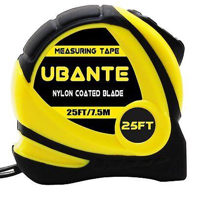 New Ubante Yellow Measuring Tape Measure 1 Inch X 25 Foot Retractable Heavy Duty