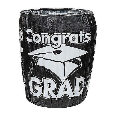 """Fun Express Black Congrats Grad Trash Can Cover Graduation Party 32"""" x 75"""""""