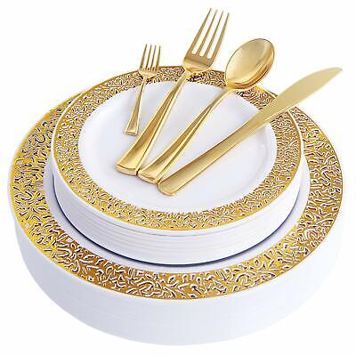 150PCS Gold Plastic Plates with Disposable Plastic Silverware,Lace Design Plasti](Gold Disposable Plates)