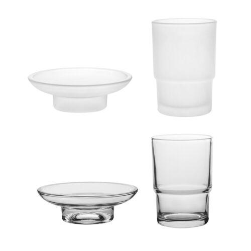 Zahnputzbecher und Seifenschale Glas Ersatz Satiniertem Satin Klarglas Glas Set