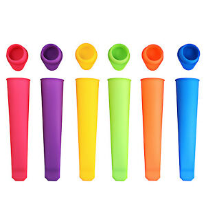 6x Silicone Push Up Frozen Stick Ice Cream Pop Yogurt Jelly Lolly Maker Mould UK