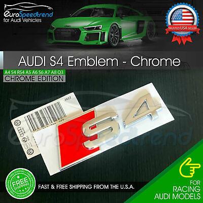 Audi S4 Emblem Chrome 3D Badge Rear Trunk Lid for S Line OEM Logo Nameplate A4