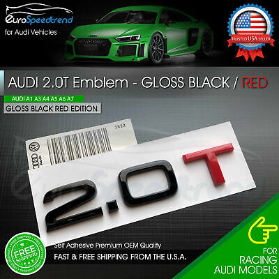 2.0T Emblem Gloss Black & Red 3D Badge Trunk Audi Nameplate OEM Compact S Line