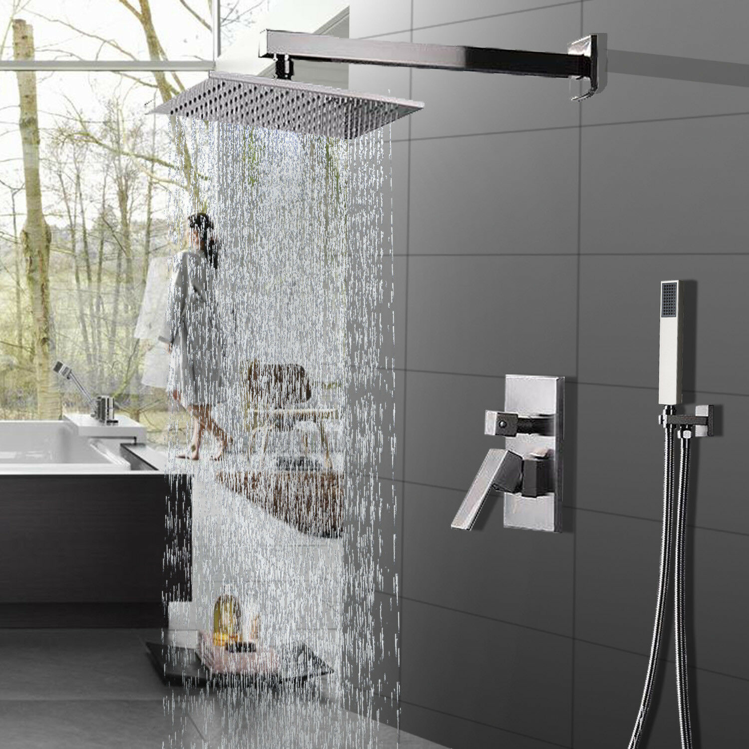 Details About Shower Faucet System Set 12 Inch Rainfall Hand Brushed Nickel Mixer Tap