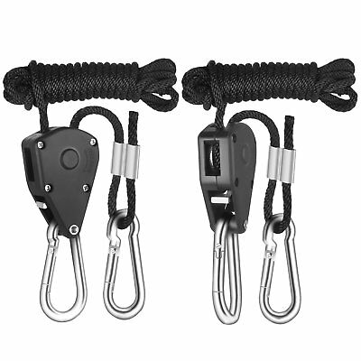 iPower 1/8 Adjustable Heavy Duty Grow Light Rope Hanger Ratchet, 150lb Capacity