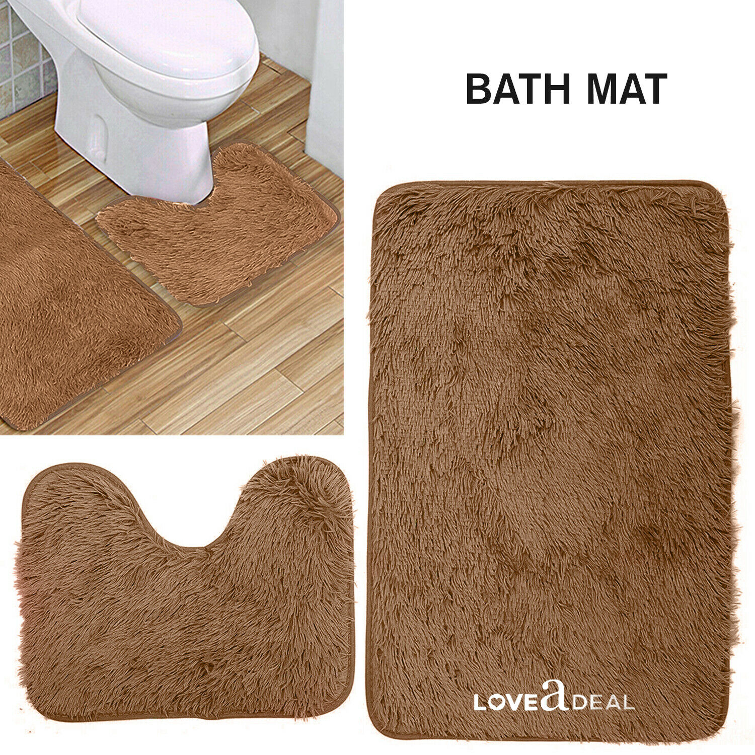 Shaggy Design Bath Mat Set Non Slip Pedestal Mat Toilet Bathroom Rugs Tan Brown Ebay