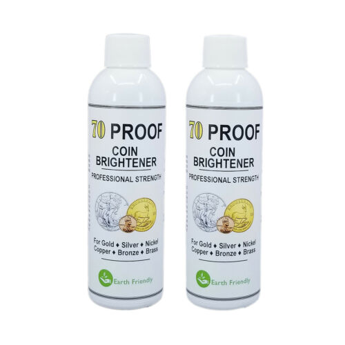 70 Proof Coin Brightener & Cleaner for Gold Silver Copper Bronze MS70  2 Bottles