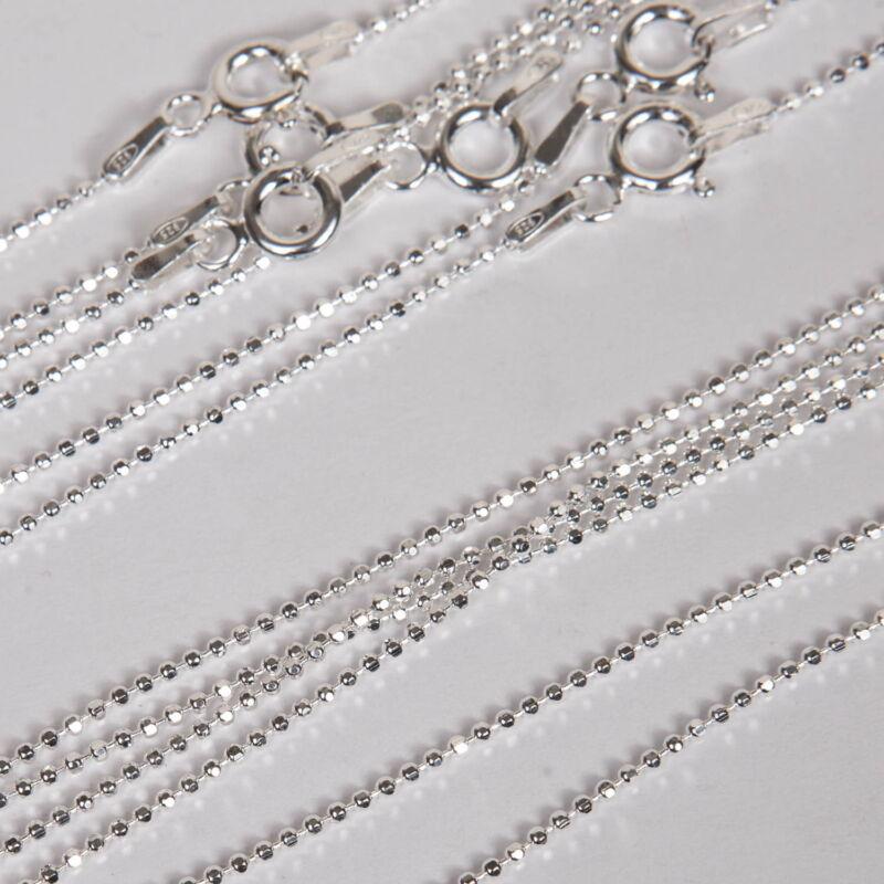 "20 Sterling Silver 925 18"" Diamond Cut BALL CHAINS Lot"